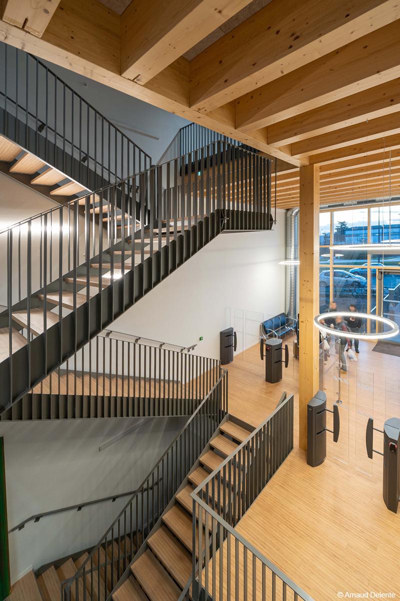 Lab Engie Crigen campus urban valley construction bois bois lamellé structure bois