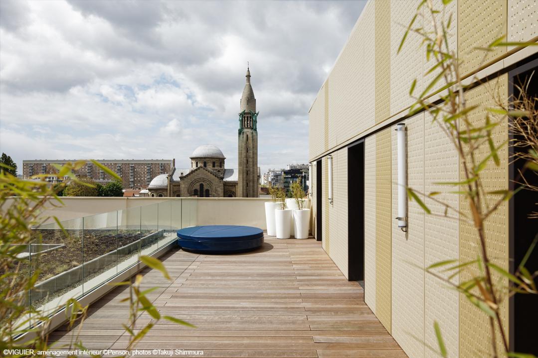 hôtel structure bois bois lamellé et CLT
