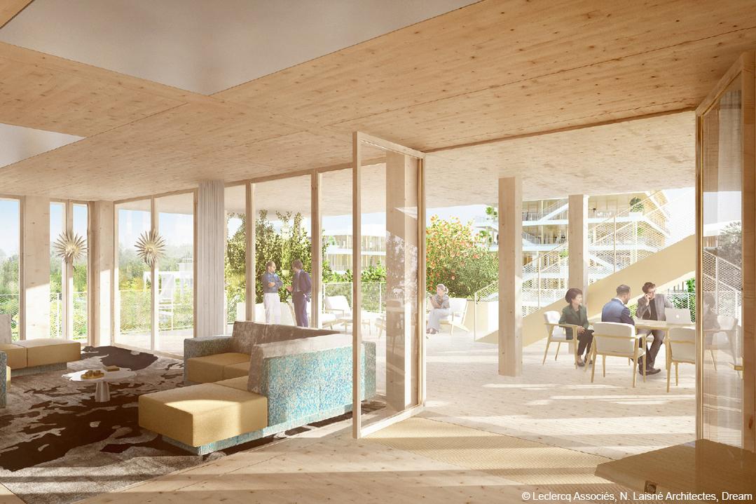 bois lamellé immeuble de bureaux structure bois clt
