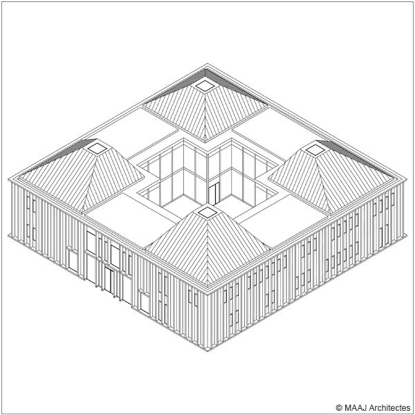 Axonométrie Pôle médical Taverny © Maaj Architectes