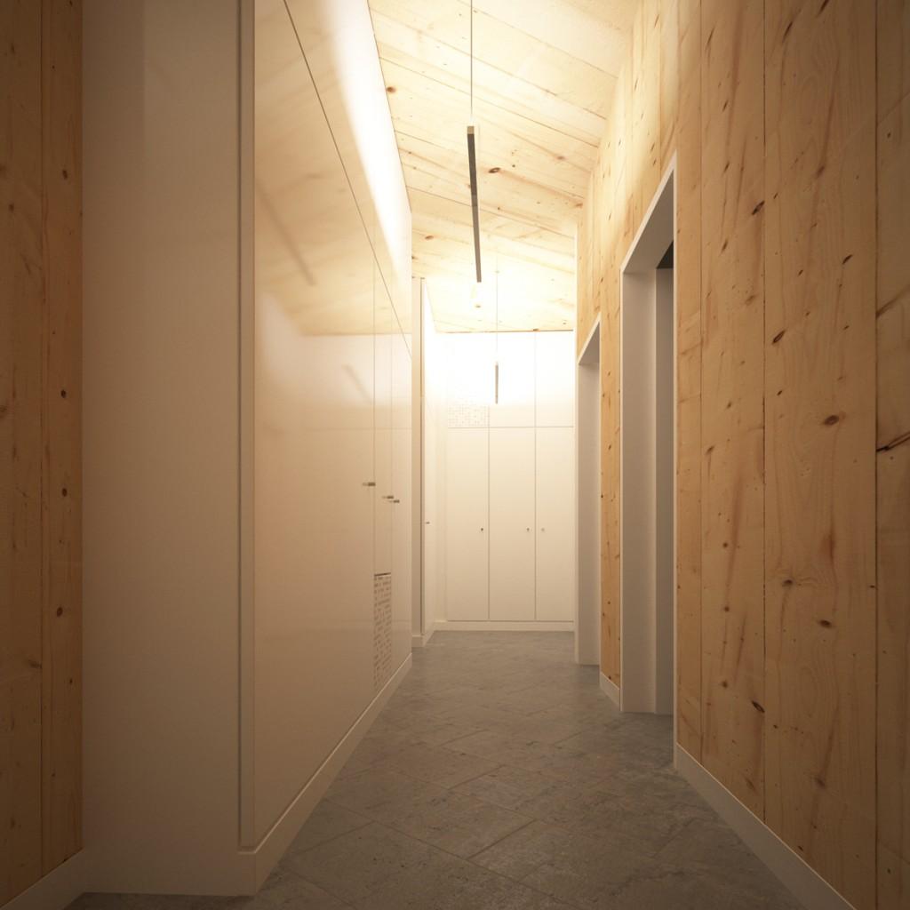 Hall d'accueil de l'immeuble, le bois est laissé apparent dans ces zones qui se doivent d'être accueillantes