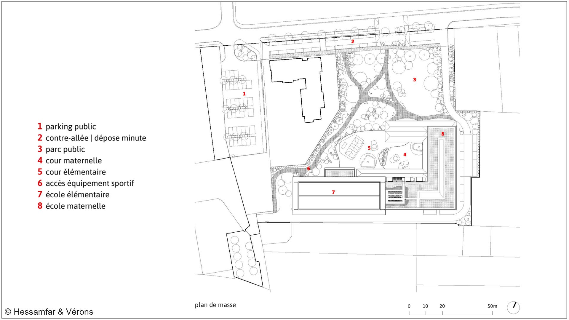 Plan masse Groupe scolaire Saint-Cyr sur Loire by Hessamfar & Vérons