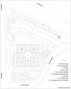 Plan masse Pôle médical Taverny © Maaj Architectes 2