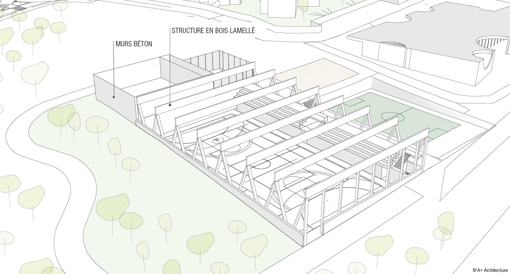 Schéma constructif Halle des sports des Verriès